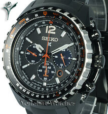 New SEIKO PROSPEX SOLAR AVIATOR ION BLACK CHRONO WITH STEEL BRACELET SSC263P1
