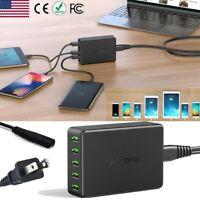 5-Port Fast Smart Charging Station USB Hub Wall Charger Power Adapter【10A 50W 】