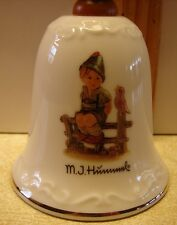 "M.J. Hummel Wayside Harmony Decorative Porcelain Bell Wooden Handle 5.5""X 2.75"""