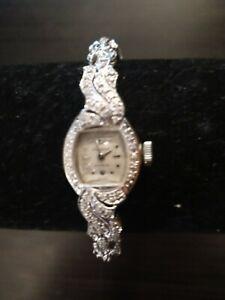 Vintage Incabloc 14k White Gold & 35 Diamonds Ladies Estate Wrist Watch