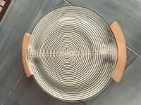 Russel Wright Vintage 50's Electriglas Glass & Wood Warming Tray Hotplate MCM