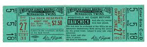 Minnesota Twins vs Detroit Tigers Nice Full Ticket June 27 1965 Twins Sweep DH