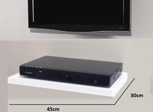 White Floating Media Shelves Shelf For DVD SKY BOX TV AV Xbox Wall Mounted New
