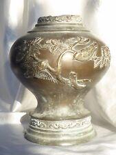 Antique Chinese Brass Lamp Bronze Lantern Base Asian Oriental Cherry Blossom