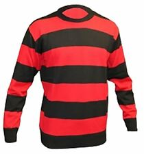 Childrens Red and Black Striped Jumper Boys Girls Long Sleeve Party Wear Top