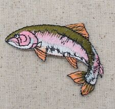 Natural Fish - Rainbow Trout - Facing Left - Iron on Applique Embroidered Patch