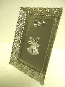 vtg Anniversary 25th Silver picture frame Plaque Wedding Marriage rings & bells