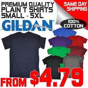 Men's Plain Blank 100% Cotton Gildan Shirt Tee tshirt T Shirt New Tees shirts