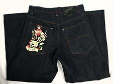 Ed Hardy Christian Audigier New York City Embroidered Jeans Mens 36x32