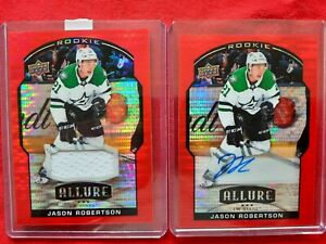 2020/21 UD Allure Jason Robertson Red Rainbow Auto RC /299 + 6 Card Lot Jersey +