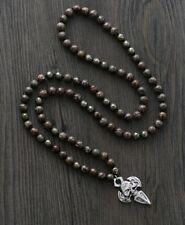 Natural Pyrite & Jasper Stone 8mm Bead Wrap Bracelet Silver Skull Necklace
