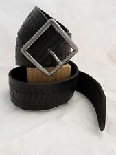 LUCKY BRAND black leather zig zag Garrison jeans belt 38 40 NEW