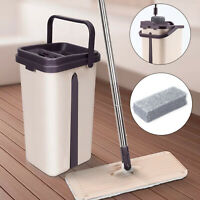 360° Flat Squeeze Microfiber Mop and Bucket Set Home Floor Tile Cleaning 6 Pads