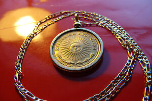 """GOLDEN SHINING RADIANT SUN COIN Pendant on a 24""""  18k Gold Filled Figaro Chain"""