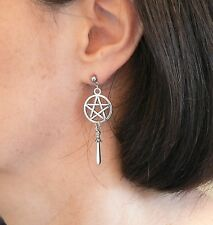 Pentacle with Atheme Earrings Hypo-allergenic Stainless Steel Studs Pagan Silver
