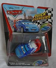Disney Pixar Cars Quick Changers Race Series Raoul CaRoule With Crash Damage NEW