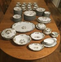 Antique Noritake Pheasant Dinnerware Service for 12 with Serving Pieces