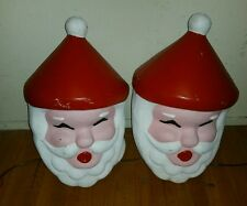Rare 2 VINTAGE Blow Mold Santa Claus Head Outdoor Indoor Lamp Post Covers 24""