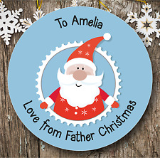 Personalised 24 Father Christmas Stickers | Gift Tags | Present Labels | Blue