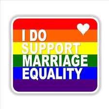 Marriage Equality. I Do. Gay rights same sex rainbow car bumper sticker decal