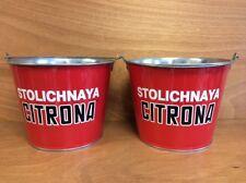 Stoli Stolichnaya Citrona Red 5 qt Galvanized Ice Bucket - New & F/S - Set of 2