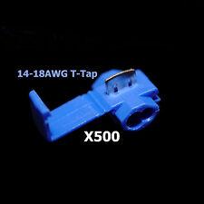 500x Blue 16-14 AWG Scotch Lock T Tap Car Audio Electronics Connectors Terminals