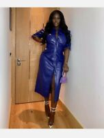 Zara Faux Leather Blue Long Sleeve Midi Shirt Dress Size M BNWT