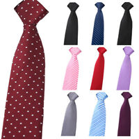 Men Classic Striped Polka Dots Floral Zipper Necktie Wedding Party Pre-tied Tie