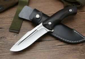 9'' New CNC Full Tang 440 Steel Blade Wood Handle Survival Hunting Knife VTH126