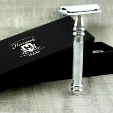 German Stainless Steel Safety Double Edge Razor Extra Grip Handle 5 Free Blades