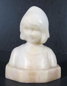 Antique 1882 Friedrich Goldscheider Alabaster Bust Young Girl w/His Seal Etc yqz