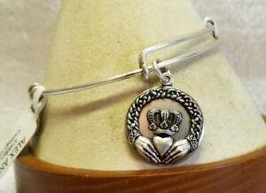 Alex and Ani Claddagh II Charm Silver Expandable Bangle Bracelet 👑 ❤