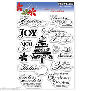 New Penny Black WINTER WONDERS Clear Stamps Verse Christmas Joy Merry Holidays