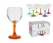 Coloured WINE GLASSES gift boxed 210ml 7.25oz set of 6
