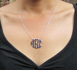 Circle Block Monogram Necklace,Sterling Silver,Handmade 3 Initial Necklace1.25''