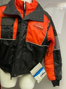 LADIES ICE RIDER SNOWMOBILE MUSTANG JACKET,NEW,SIZE 14 OR 16,BLACK/ORANGE/SILVER