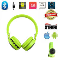 LED Handfree Headphones Wireless Sports Headset Stereo Sound WITH MIC FM Radio