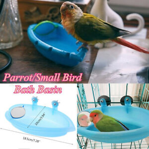 Bird Water Bath Bathtub Parakeet Pet Cage Hanging Bowl Birdbath Parrot Shower