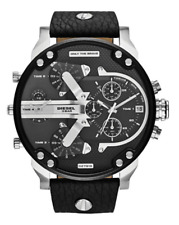 Diesel Mr. Daddy DZ7313 Dual Time Black Chronograph Dial Leather Men's Watch