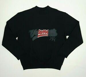 VETEMENTS Mens Sweatshirt XS Black Long Sleeve Crew Embroidered Dual Tone Logo