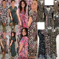 Womens Leopard Tiger Print V Neck Ruffle Maxi Dress Ladies Summer Beach Sundress
