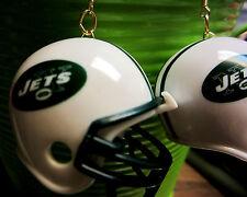 NORA WINN BIG UNIQUE NY JETS 925  EARRINGS NFL FOOTBALL HELMETS WHITE & GREEN