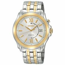 Seiko SKA472 Kinetic Gold & Silver Tone Date Men's Watch $375 - GREAT GIFT