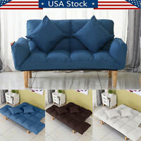 Memory Foam Futon Sofa Bed Couch Sleeper Convertible Foldable Loveseat W/Pillow