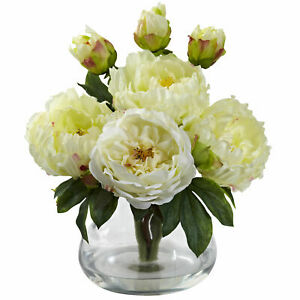 Nearly Natural Peony & Rose W/Glass Vase & Faux Water Floral Home Decor White
