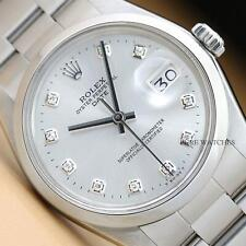 ROLEX MENS 34MM OYSTER PERPETUAL DATE SILVER DIAMOND DIAL WATCH + ROLEX BAND