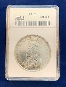 CANADA  GEORGE V  1936 1 DOLLAR SILVER COIN, UNCIRCULATED, ANACS CERTIFIED MS61