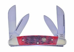 Hen & Rooster Congress Knife Red Pick Bone Stainless Pocket Knives 264-RPB