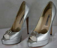 BRIAN ATWOOD SKYHIGH HEEL SILVER LEATHER&CRYSTAL OPEN TOE PUMPS EU 41 US 11
