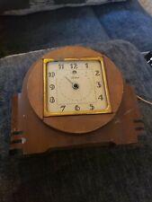 Art Deco Telechron Wood & Brass Electric Clock
